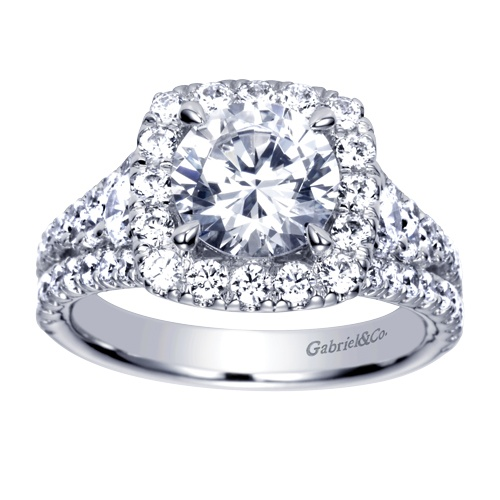 This stunning Gabriel & Co. Amavida Halo Engagement Ring is filled with glamour and sparkle! This beautiful engagement ring is all about the diamonds and details. Check out our website www.gabrielny.com to see all of our Amavida engagement rings!