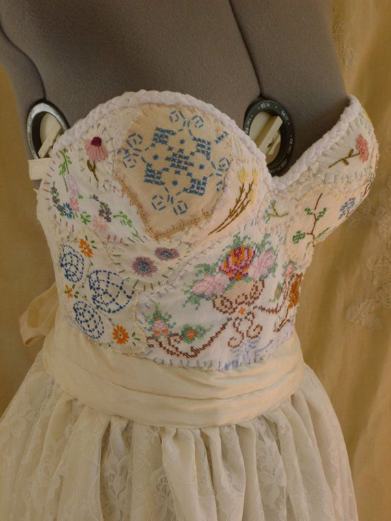 Meadow Bustier Wedding Gown... dress boho whimsical woodland country vintage inspired embroidery free people lace corset eco friendly