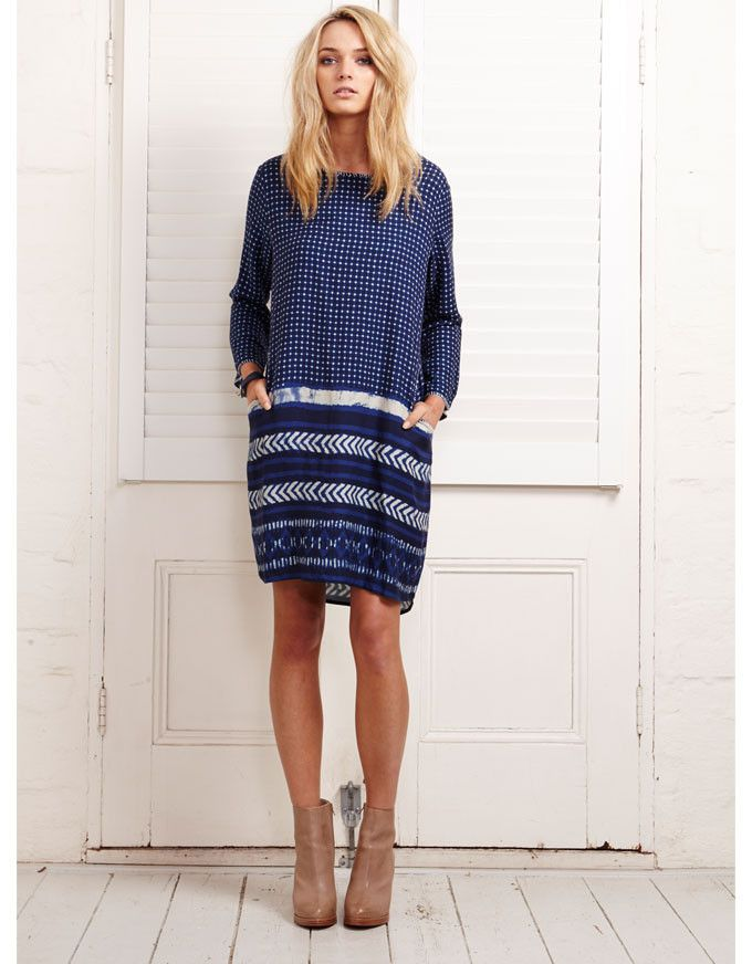 Smoko Pocket Dress Herringbone - Binny - Nina Proudman style