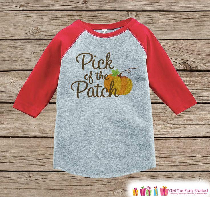 Pick of the Patch - Kids Pumpkin Patch Outfit - Girls or Boys Pumpkin Shirt - Red Raglan Tshirt or Onepiece - Kids Halloween Pumpkin Shirt