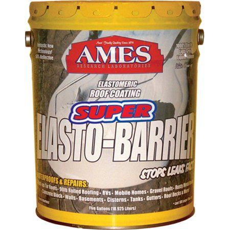 Ames Super Elasto Barrier Liquid Rubber Basecoat For Roofs And Roof Decks 5 Gallon Grey Elastomeric Roof Coating Roof Coating Plywood Siding