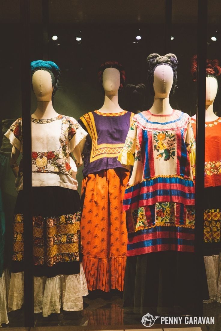 A collection of Frida Kahlo's clothing. Many of these make appearances in her self-portraits.