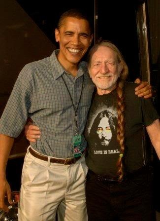 "President Barack Obama and music legend, Willie Nelson.  John Lennon t-shirt, ""Love Is Real"".  #FarmAid"