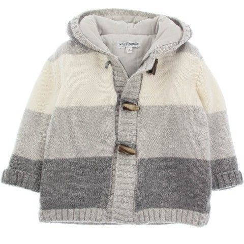 Baby Graziella Boys Grey Wool Stripe Duffle Cardigan