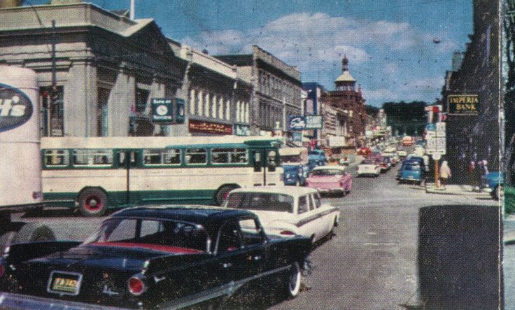 Main Street at Water St., (Galt) Cambridge, Ontario in 1959. Love the pink Rambler in center of picture.