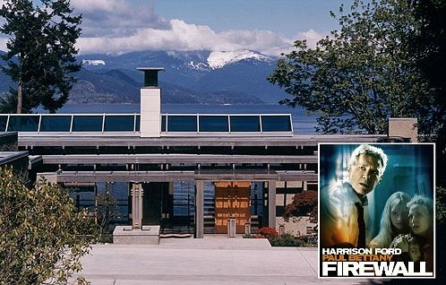 "Contemporary House from Harrison Ford Movie ""Firewall"" The story takes place in Seattle, but the house scenes were actually filmed in British Columbia, Canada. It was designed by architect Brian Hemingway, and there are photos in his portfolio of the house, dubbed ""Tidewater."