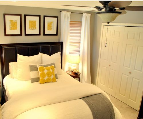 Neutral colors make this small bedroom shine.
