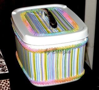 ice-cream pot recycling (fabric and trims + drawer pull)