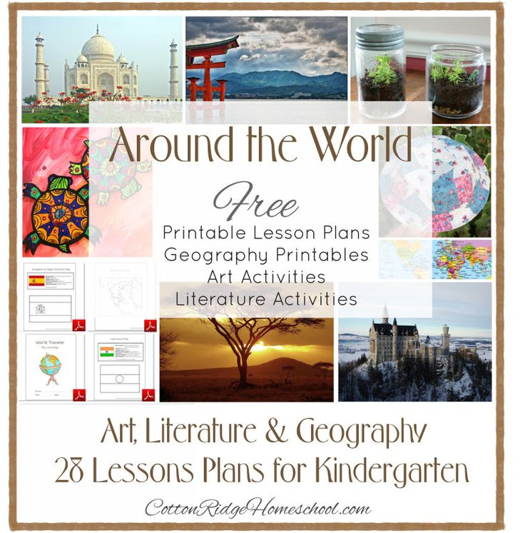 Around The World in 28 Weeks Lesson Plans For Preschool Through First Grade. Each week's post includes a lesson plan for a different country, with ideas for a story, art project, geography activity, and printable flag and map.  Also includes ideas for Pretend Passports and Travel Journals.