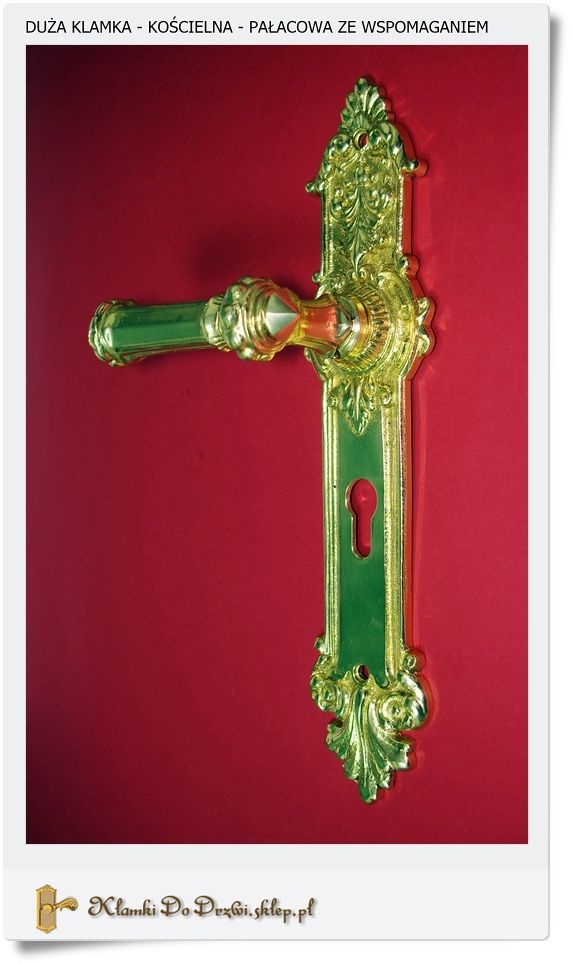 Mosiężna klamka ze wspomaganiem Duża do drzwi zewnętrznych bramowych