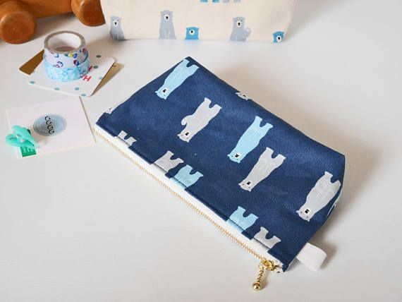 Cute canvas zipper pouch bears pencil case perfect gift for