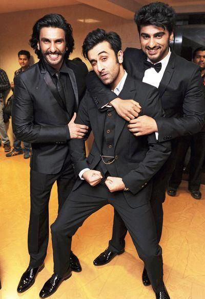 Ranveer Singh, Ranbir Kapoor and Arjun Kapoor at Filmfare Awards 2013