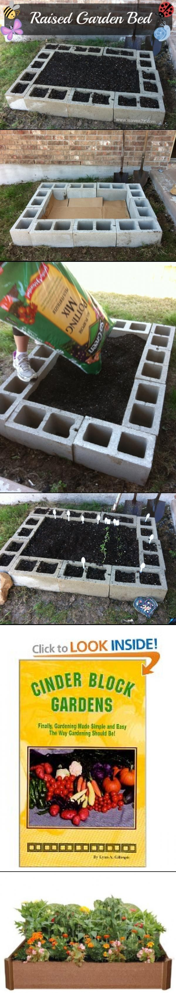 Raised Garden Bed Tutorial. Put the herbs in the small holes of the cinder blocks and your veggies in the center.