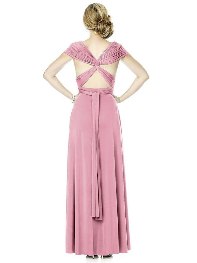 Love the back on this Dessy twist wrap bridesmaids dress! (It's one of many different options.)