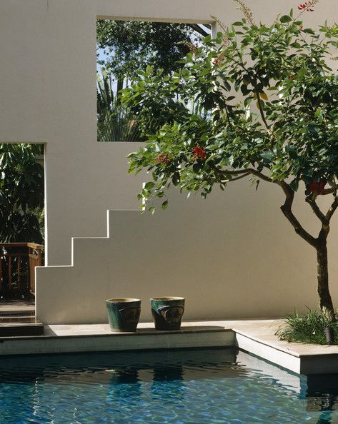 pool with clean architectural surroundings and plantings -- gorgeous