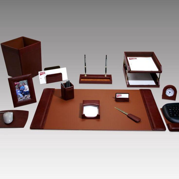Geno Executive 16 Piece Leather Desk Set
