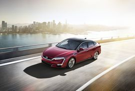 Honda Clarity Fuel Cell claims longest zero-emissions range at 366 miles     - Roadshow  Roadshow  News  Hatchbacks  Honda Clarity Fuel Cell claims longest zero-emissions range at 366 miles  Enlarge Image  If only all new Hondas looked this neat.                                             Honda  Hondas Clarity hydrogen fuel-cell car goes on sale in California later this year. When it does it will have the longest range of any zero-emissions vehicle on the market although there are ple..