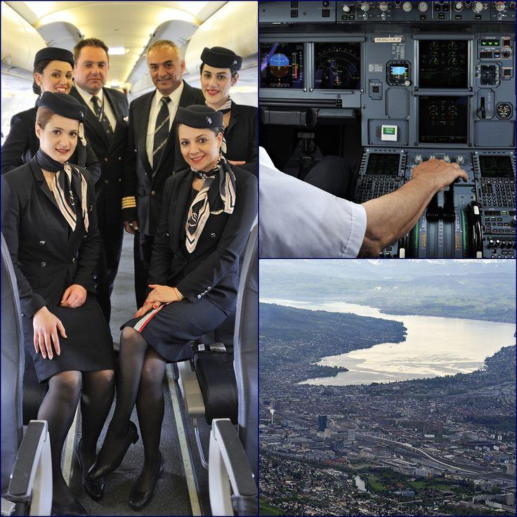 10.Ο Κυβερνήτης της πτήσης μας κ. Σοφοκλής Σοφοκλέους και ο Συγκυβερνήτης κ. Kulik Dariousz φωτογραφίζονται με τις κυρίες του πληρώματος καμπίνας λίγο πριν την επιβίβαση. Η επιβίβαση ολοκληρώνεται και σε λίγο πετάμε πάνω από την πόλη της Ζυρίχης.