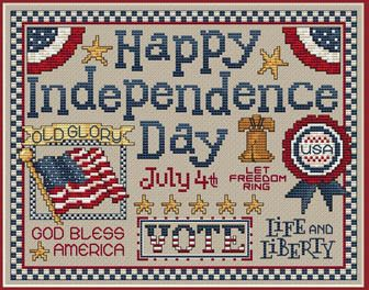 Sue Hillis Happy Independence Day - Cross Stitch Pattern. Model stitched on 28 count Summer Khaki Lugana with Sullivans floss. Stitch count: 126W x 98H.