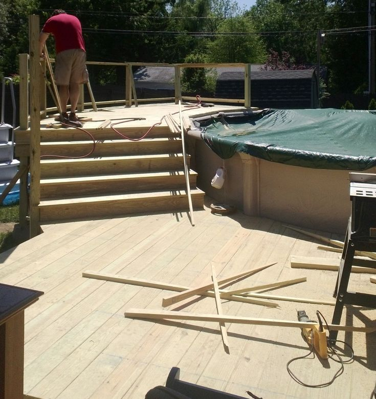 Deck stairs nice above ground pool deck home pinterest decks nice and pools - Above ground composite pool deck ...