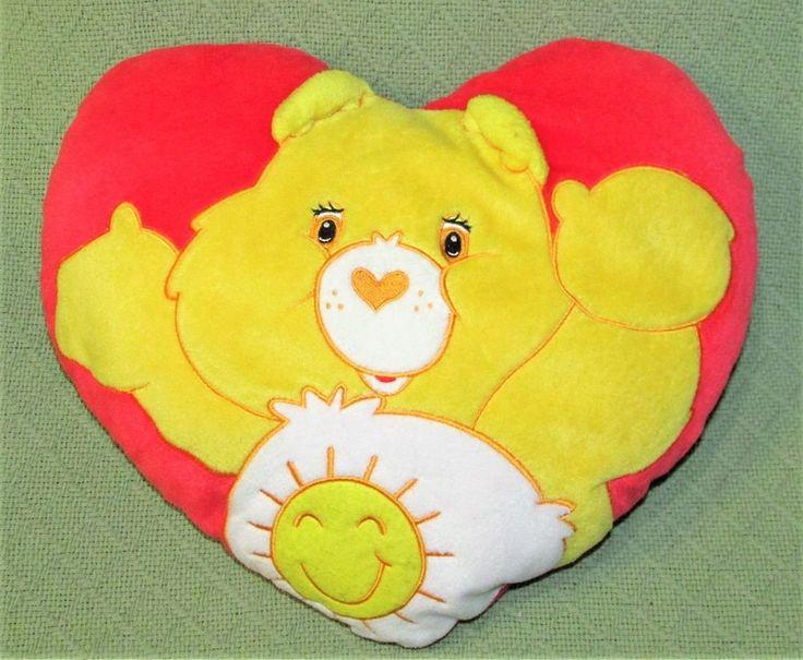 "Vintage Care Bears HEART PILLOW Sunshine Bear Plush Stuffed Red Yellow 14"" Wide #CareBears #any"