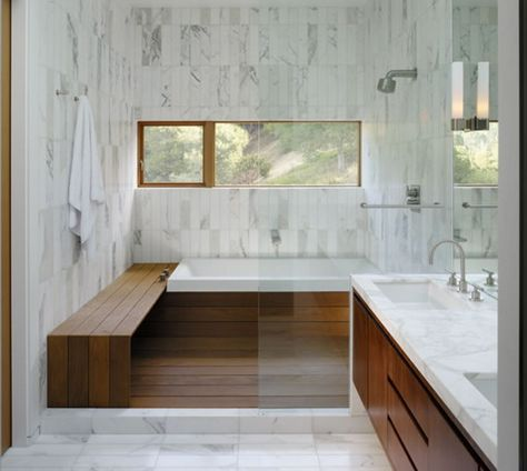 bright bathroom with elements of timber