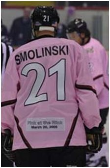 Bryan Smolinski of the 2005 Motor City Mechanics wearing his pink jersey for the Pink at the Rink with Mary Kay and the Mechanics fundraiser