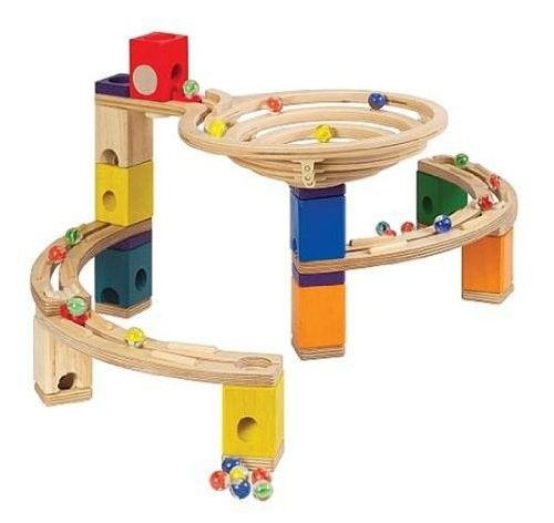 Marble Toys For Boys : Quadrilla basic set wooden marble run for building