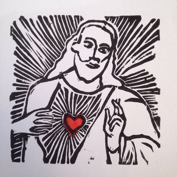 Jesus linocut card/ print