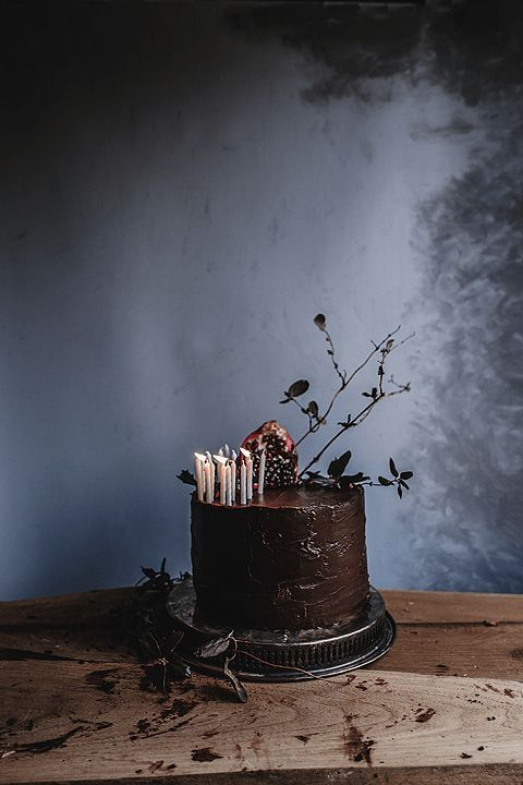 Dark Chocolate Pomegranate Cake with Ganache