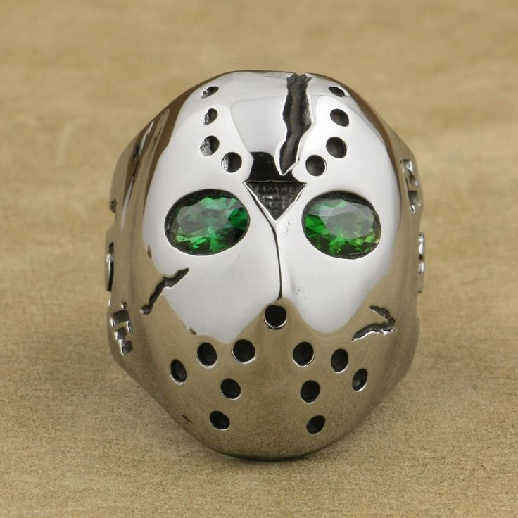316L Stainless Steel Halloween Jason Mask Hockey Green CZ Eyes Mens Ring 3F201A //Price: $US $11.70 & FREE Shipping //     #hashtag2