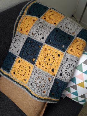 Au Crochet Qui Maille Couverture Granny Square Plaid Haken