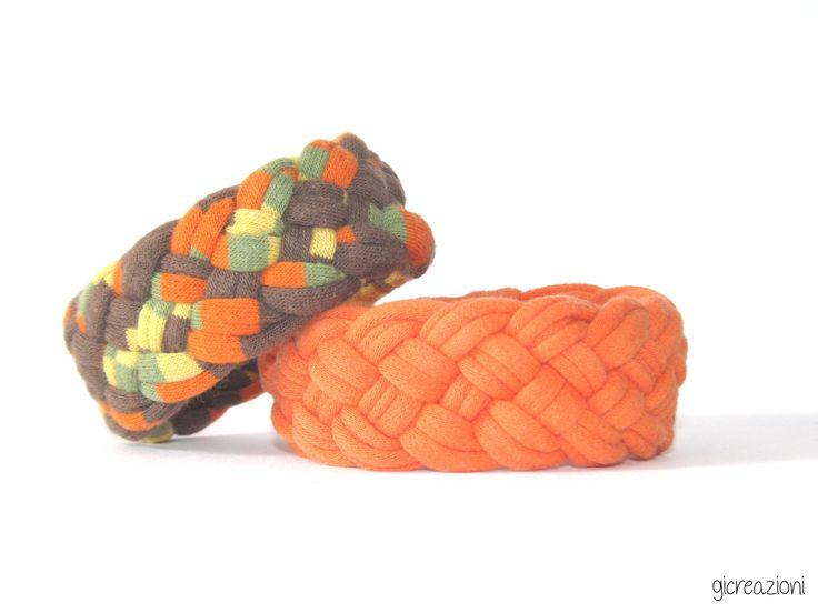 #fabric #bracelets #braided #upcycled cotton t-shirts, orange&colorful