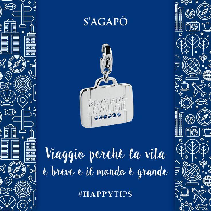 Viaggio perchè la vita è breve e il mondo è grande #HappyTips #charms #ciondoli #pendant #gioielli #quotes