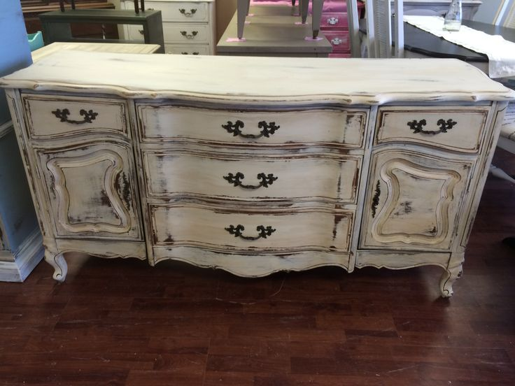 "I get excited when I find these stunning french provincial pieces. This one probably had a hutch with it at one time but it doesn't anymore. This piece would look stunning as a dining room buffet or even as a TV stand/console. I think it came out really great, what do you think?  The dimensions are 63"" L, 20"" W, 32"" H. SOLD!! for $325"
