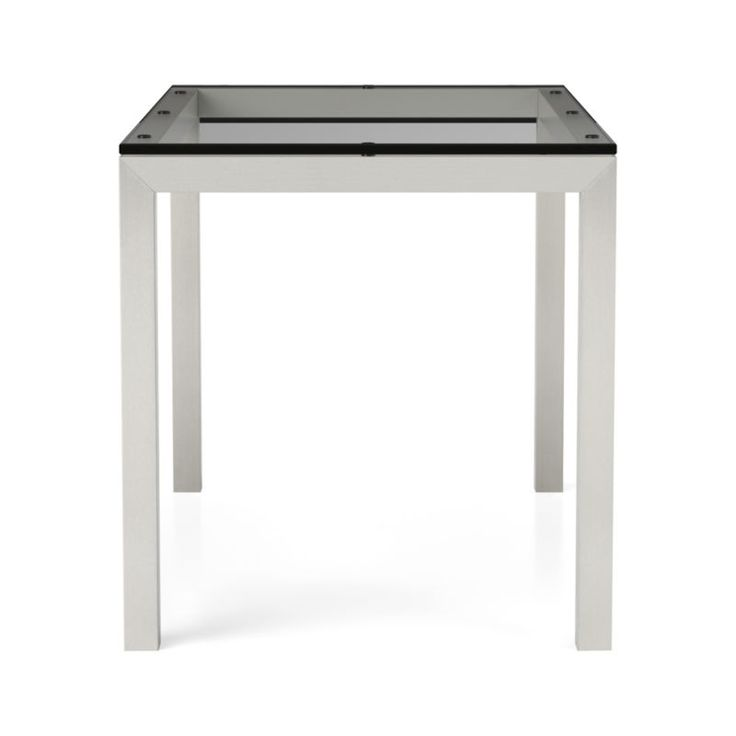 Clear Glass Top/ Stainless Steel Base 48x28 Parsons Dining Table   Crate and Barrel