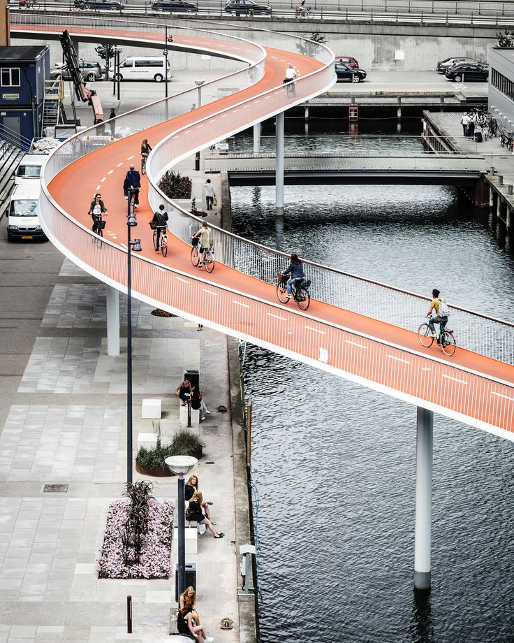 """""""The Bicycle Snake"""" near the shopping center """"Fisketorvet"""" in Copenhagen designed by DISSING+WEITLING architecture!"""