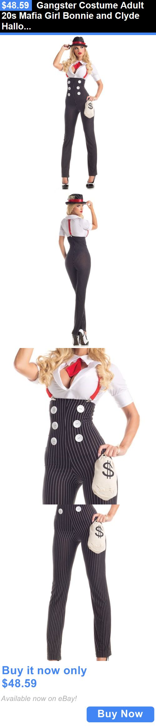 Halloween Costumes Women: Gangster Costume Adult 20S Mafia Girl Bonnie And Clyde Halloween Fancy Dress BUY IT NOW ONLY: $48.59