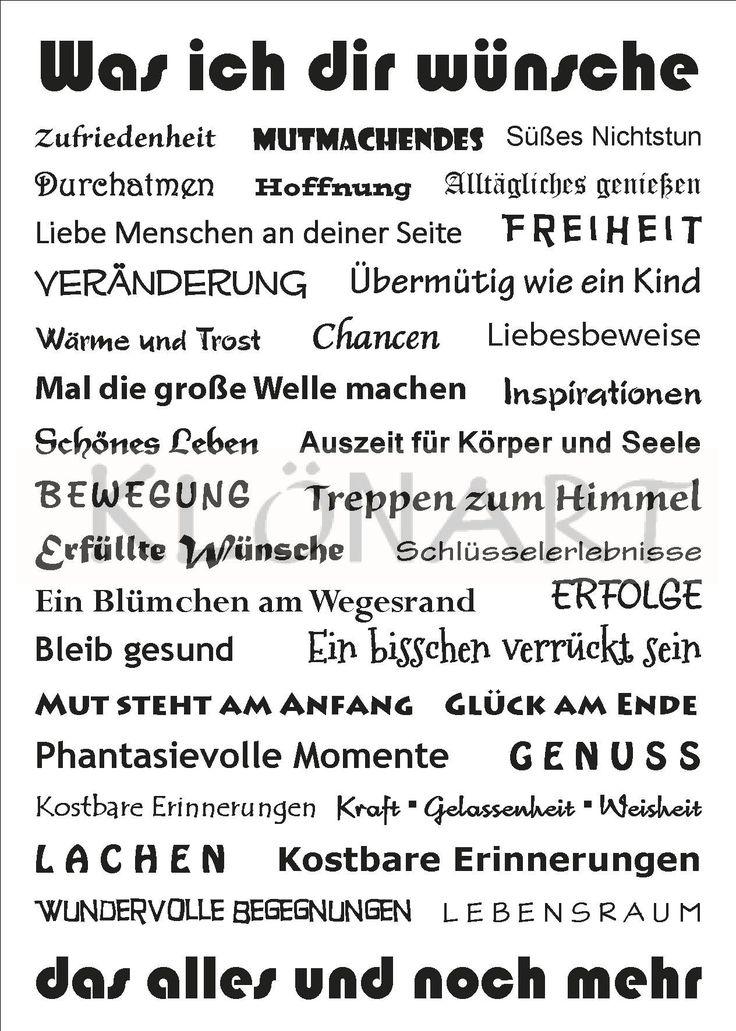 KLÖNART - Kartenkunst und mehr Postkarte  Buchstaben + Worte WAS ICH DIR WÜNSCHE www.kloenart.de kontakt@kloenart.de www.facebook.com/kloenar