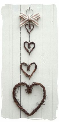 Twiggy hearts to hang on a narrow wall space.  Near the front door would be really nice.  Just a little love note for all heading out.
