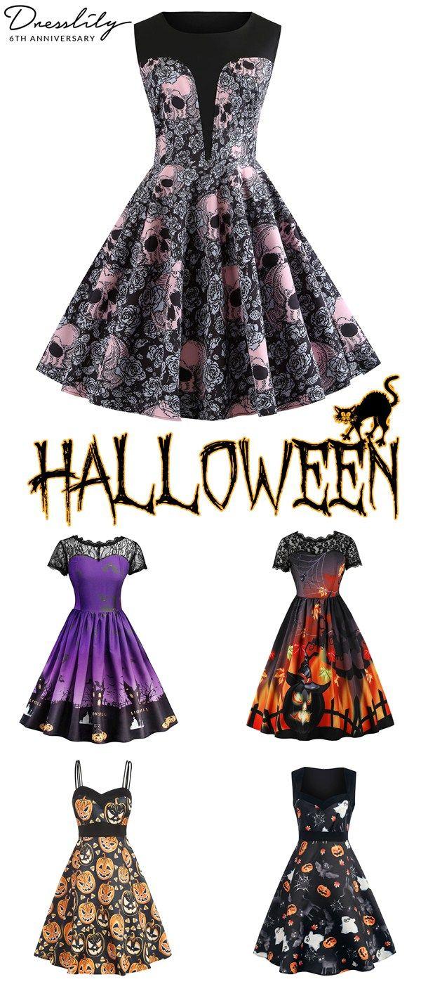 6148c82b39c Buy 1 get 15% off. Halloween Printed Lace Panel Vintage A Line Dress.   dresslily  halloween  vintagedress