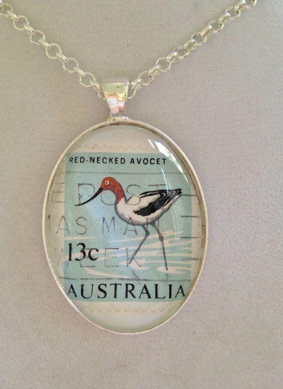 Australian Bird Stamp Pendant Necklace by joytoyou41 on Etsy, $35.00