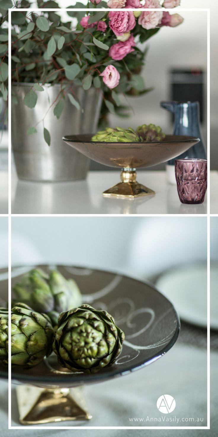 Annavasily Sher Decorative Fruit Bowl On Brass Pedestal Modern Decorative Bowls Glass Fruit Bowl Decorative Bowls