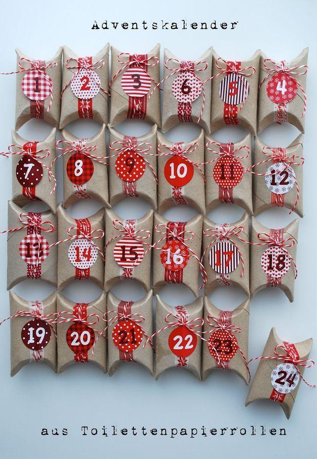 Aus Toilettenpapierrollen habe ich für meinen Papa einen Adventskalender gebastelt. Die kleinen Schachteln habe ich mit rot-weissen Tapes und einer Kordel verziert und mit Adventszahlen beklebt. Die R