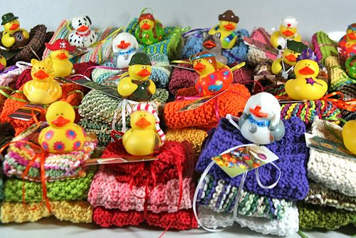 Face Cloth Gift Sets: set of homemade cloths, cute rubber duckies, and soaps --Put in those fab Chinese takeout boxes as wrapping