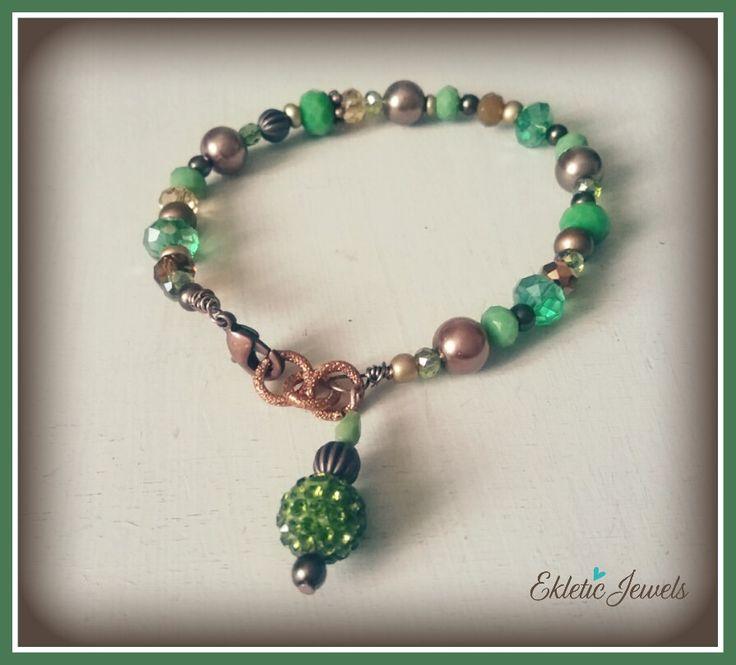 Shades of green boho bracelet