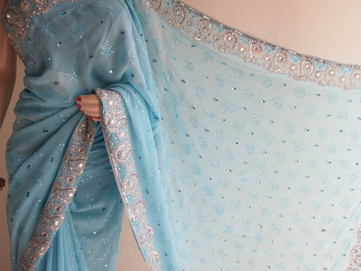 Baby Blue Pure Georgette Saree With Sequins Work