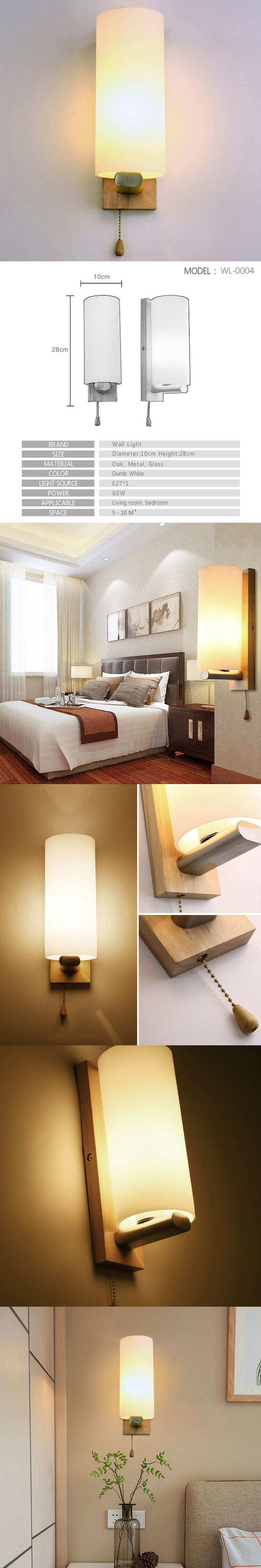 [MingBen] Modern LED wall lamps Bedroom Bedside Lamps Bathroom Night Light Wood+Glass E27 Socket 90-260V Decorate the walls
