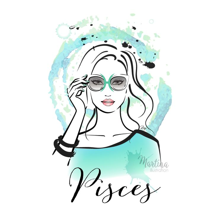 horoscope zodiac sign pisces illustration portrait