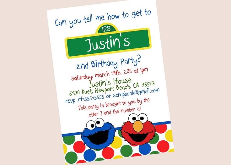 75 best Diegos 2nd Bday images – Homemade Elmo Birthday Invitations